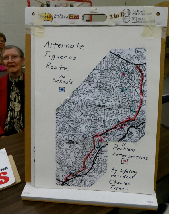 "Bike Lane non-friend, Ann Walnum and the Opposition's ""Alternative Figueroa Bike Plan."" as drawn on a map from the now defunct, Thomas Brothers Map Co."