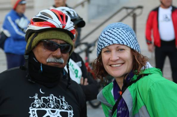"Two chilly ""bullies"" on the Chale Con Cedillo protest ride. Image Miguel Ramos"