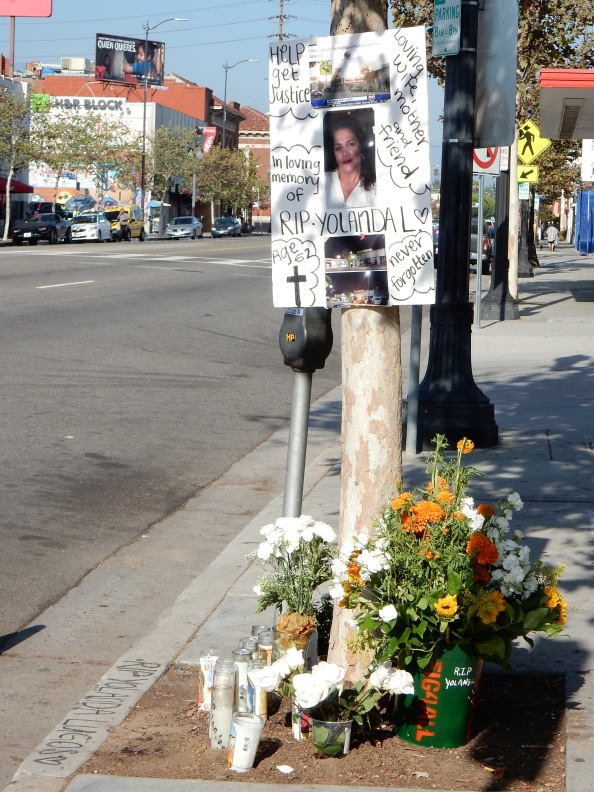 Memorial to Yolanda Lugo at the crash site.