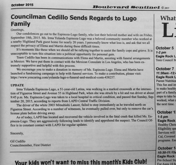 No story in the Boulevard Sentinel, just Cedillo's letter.